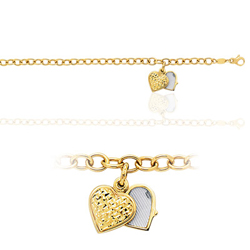Charm Heart Locket Engraveable Bracelet in 14K Yellow Gold