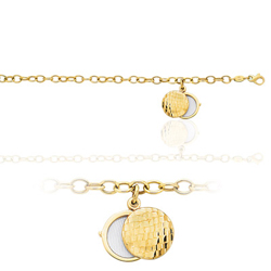 Charm Round Locket Engraveable Bracelet in 14K Yellow Gold