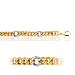 Single Curb Puffed Link in 14K Two Tone Gold