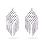 Balinese Bead Chandelier Earrings in 14K White Gold