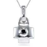 0.13 Ct 1.3 mm AA Round Black Diamond Solitaire Lock Pendant in Silver