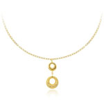 Womens Graduated Circle Fancy Necklace in 14K Yellow Gold