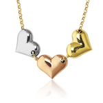 Tri Color Heart Necklace in 14K Three Tone Gold