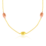 Pebble Necklace in 14K Two Tone Gold
