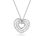 Royal Pave Graduated Open Heart Pendant in 14K White Gold