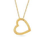 Royal Pave Dangling Open Heart Pendant in 14K Yellow Gold