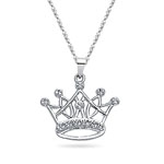 Royal Pave Crown Pendant in 14K White Gold