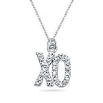 Royal Pave Hugs and Kisses Pendant in 14K White Gold