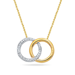 Royal Pave Dangling Circle Pendant in 14K Two Tone Gold