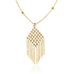 Balinese Bead Chandelier Necklace in 14K Yellow Gold