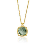Green Amethyst Necklace in 14K Yellow Gold