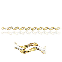 Curb Bracelet in 14K Two Tone Gold