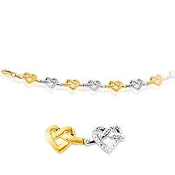 Open Heart Bracelet in 14K Two Tone Gold
