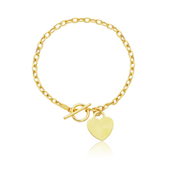 Toggle Heart Charm Bracelet in 14K Yellow Gold