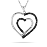 Double Heart Pendant in 14K White Gold