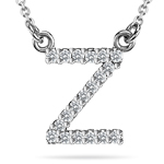 0.10 Cts Diamond Initial Z Pendant in 14K White Gold