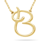 Fashion Script Initial B Pendant in 14K Yellow Gold