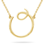 Fashion Script Initial O Pendant in 14K Yellow Gold