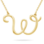 Fashion Script Initial W Pendant in 14K Yellow Gold