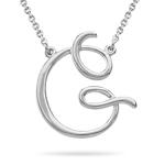 Fashion Script Initial G Pendant in 14K White Gold