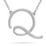 Fashion Script Initial Q Pendant in 14K White Gold