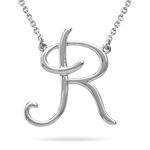 Fashion Script Initial R Pendant in 14K White Gold
