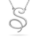Fashion Script Initial S Pendant in 14K White Gold