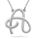 Fashion Script Initial A Pendant in Sterling Silver