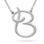 Fashion Script Initial B Pendant in Sterling Silver