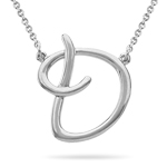 Fashion Script Initial D Pendant in Sterling Silver