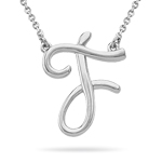 Fashion Script Initial F Pendant in Sterling Silver