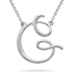 Fashion Script Initial G Pendant in Sterling Silver