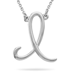 Fashion Script Initial I Pendant in Sterling Silver
