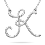 Fashion Script Initial K Pendant in Sterling Silver