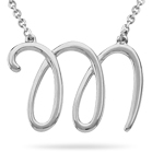 Fashion Script Initial M Pendant in Sterling Silver