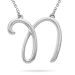 Fashion Script Initial N Pendant in Sterling Silver