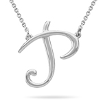 Fashion Script Initial P Pendant in Sterling Silver