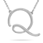 Fashion Script Initial Q Pendant in Sterling Silver