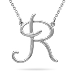 Fashion Script Initial R Pendant in Sterling Silver