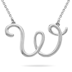 Fashion Script Initial W Pendant in Sterling Silver