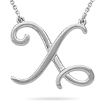 Fashion Script Initial X Pendant in Sterling Silver