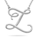 Fashion Script Initial Z Pendant in Sterling Silver