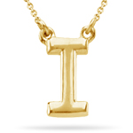 Fashion Block Initial I Pendant in 14K Yellow Gold