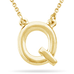 Fashion Block Initial Q Pendant in 14K Yellow Gold