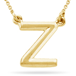 Fashion Block Initial Z Pendant in 14K Yellow Gold