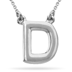 Fashion Block Initial D Pendant in 14K White Gold