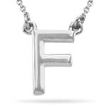 Fashion Block Initial F Pendant in 14K White Gold