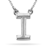 Fashion Block Initial I Pendant in 14K White Gold