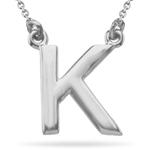 Fashion Block Initial K Pendant in 14K White Gold