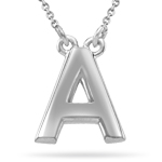 Fashion Block Initial A Pendant in Sterling Silver